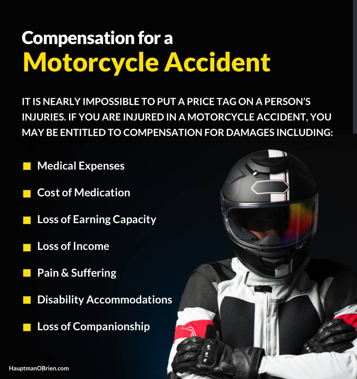 Compensation for Motorcycle Accidents   Hauptman, O'Brien, Wolf and Lathrop